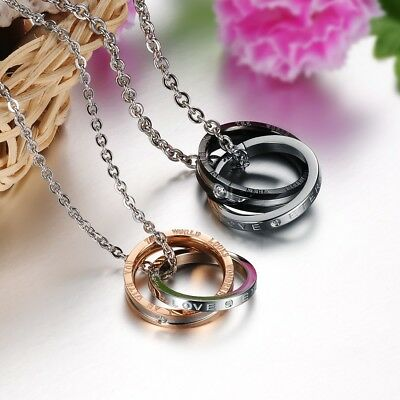 Double Rings Pendent Necklace Men Women Silver Black Rose Gold  with chain