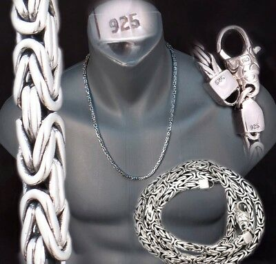 4mm BALI BYZANTINE 925 STERLING SILVER MENS NECKLACE KING CHAIN 18 20 22 24 26""