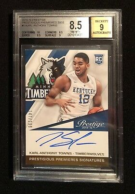 2015-2016 Panini Prestige RC Karl-Anthony Towns 147/299 Autograph Wolves NBA