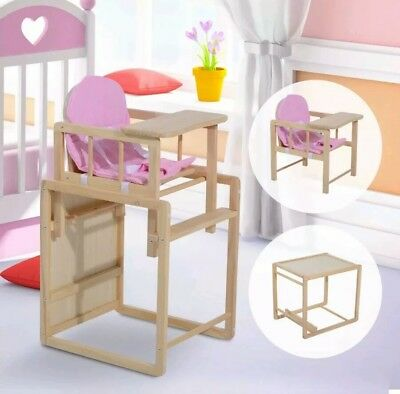 Modern Baby Highchair Infant Feeding Detachable Seat Toddler Table Wooden Pink