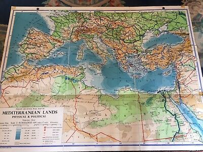 Old School Wall Map Of Mediterranean Lands 1957 Physical And Political