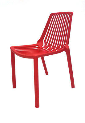 Red Lisbon Stacking Chairs, Canteen Chairs, Bistro Chairs, Restaurant Chairs