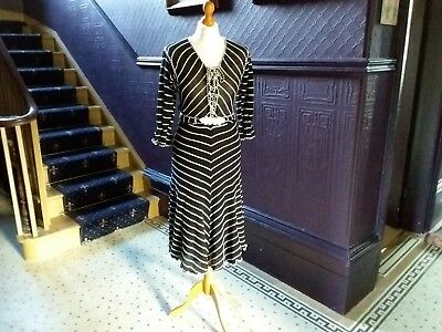 STUNNING FRENCH VINTAGE LADIES DRESS 8 BLACK & WHITE STRIPE STARLET 60S Belted