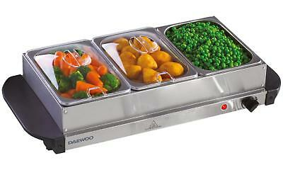 Daewoo Electric Buffet Server small 3 x 1.5L NEW IN BOX WITH GLASS LID SDA1199