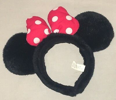 Disney World Minnie Mouse Black Red Bow Ears Headband
