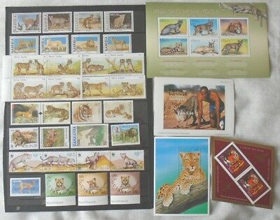 Big Cats thematic collection mostly Africa - stamp sets & sheets MNH