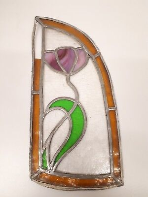 Stained Glass Vintage stained glass window PANEL TULIP circa 1950