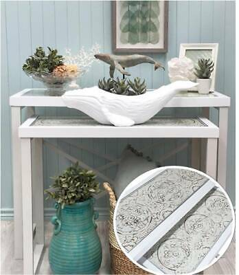Whitewash Ornate Nesting Hall Tables SET Metal Timber Sideboard/Console/Buffet
