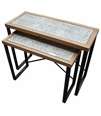 Natural/Black Ornate Nesting Hall Table SET Metal Timber Console/Buffet/Hallway