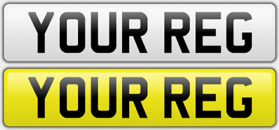PAIR of number plate signs with any text or spacing