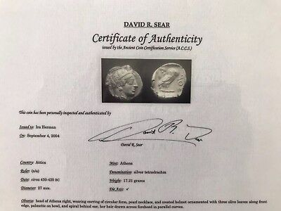Athens Athena Owl Tetradrachm Ancient Greek Attica Silver Coin w/ David Sear COA