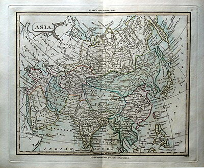 ASIA  Original Hand Coloured Antique Map CONTINENT OF ASIA 1825