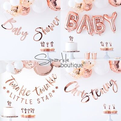 ROSE GOLD BABY SHOWER BUNTINGS/Garlands/Banners/Unisex Party Hanging Decorations