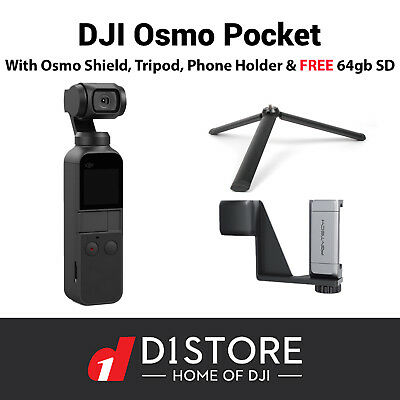 Osmo Pocket Combo With Osmo shield FREE 64GB Sd Card Plus Tripod & Phone Holder