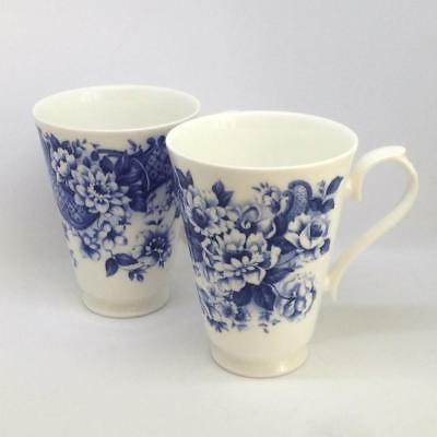 2 Roy Kirkham Fine Bone China Mugs Blue & White Colonial Design Different
