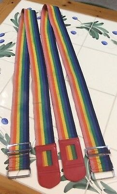 Two Vintage Rainbow Luggage Straps Late 70's