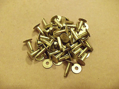 "Solid Brass Flat Head Rivets & Burrs 3/4"" 12 Gauge (1 Pound Pack) Made In USA"