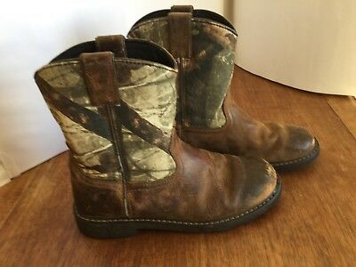 224564b8ecb ARIAT BROWN LEATHER Camo Cowboy Boots Size 6 Style 10006747