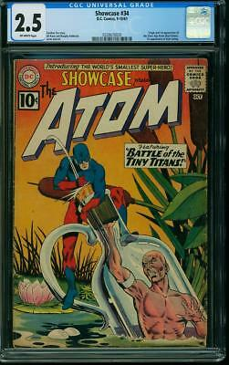 SHOWCASE #34 CGC 2.5 GD+ 1961, 1st Silver Age Atom appearance and origin