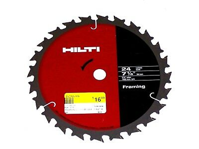 "New HILTI Framing Circular Saw Blade 7-1/4""- 24 Teeth- 5/8"" Arbor- F.Ship"