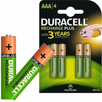 Duracell Plus AAA Rechargeable Batteries NiMH 750mAh Stay Charged HR03