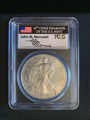 2013 1OZ American Silver Eagle PCGS MS70 First Strikes Mercanti Signed
