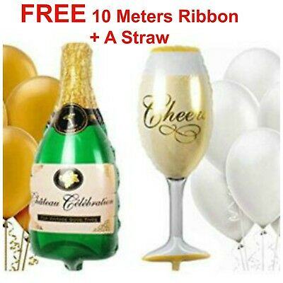 Giant Champagne Bottle Glass Foil Balloons HAPPY BIRTHDAY FOIL BALOONS BALONS