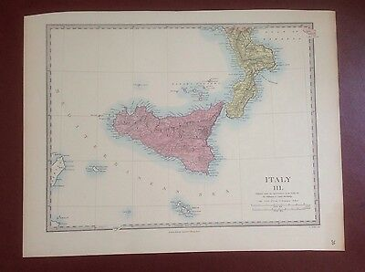 1874 Edward Stanford Steel Engraved Hand Coloured Map - Italy Iii / 17.5 X 13.5