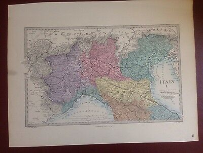 1874 Edward Stanford Steel Engraved Hand Coloured Map - Italy I / 17.5 X 13.5