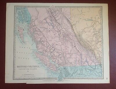 1874 Edward Stanford Steel Engraved Hand Coloured Map - Columbia / 17.5 X 13.75