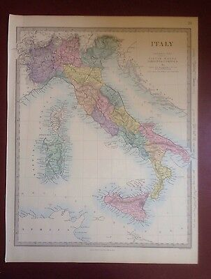 1874 Edward Stanford Steel Engraved Hand Coloured Map - Italy  / 17.5 X 13.5