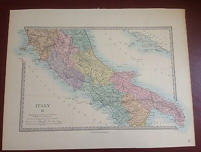 1874 Edward Stanford Steel Engraved Hand Coloured Map - Italy Ii / 17.5 X 13.5