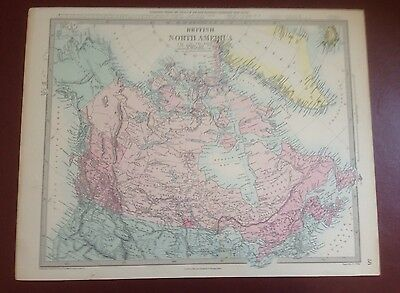 1874 Edward Stanford Steel Engraved Hand Coloured Map British North America