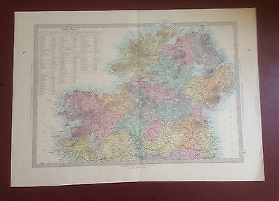 1874 Edward Stanford Steel Engraved Hand Coloured Map Ireland North Street