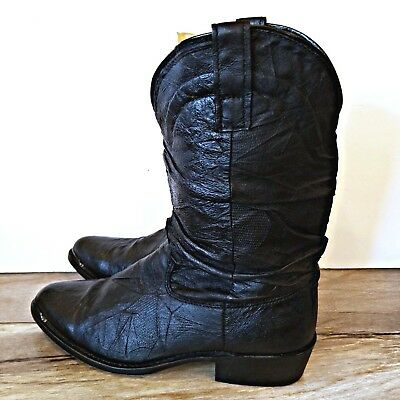 23ee6f6f40f DINGO BLACK LEATHER Slouch Cowboy Western Boots Mens Size 10 D Style 15240