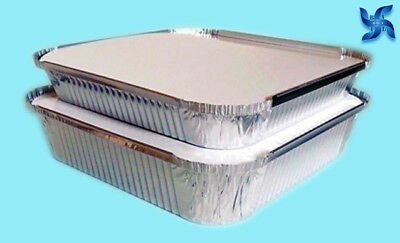 "No9 ALUMINIUM FOIL FOOD CONTAINERS + LIDS PERFECT FOR HOME & TAKEAWAY USE [9x9""]"