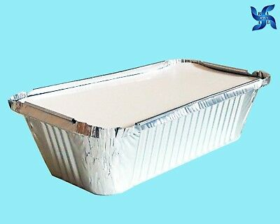 No 6A ALUMINIUM FOIL FOOD CONTAINERS + LIDS PERFECT FOR HOME & TAKEAWAY USE