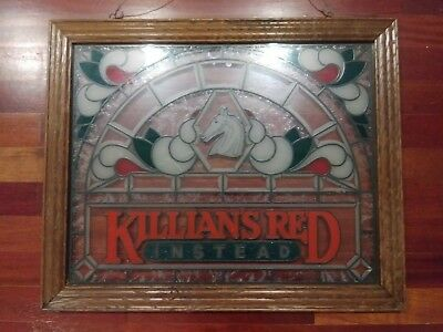 KILLIANS Red Instead Frosted Faux Stained Glass BEER Sign Bar Pub Man Cave