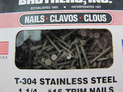 "2lbs Pebblestone Clay 1-1/4"" Stainless Steel #15 Trim Nails Clendenin Brothers"