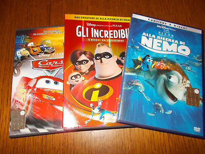 Lotto 5 Dvd Disney Pixar Alla Ricerca Di Nemo Incredibili Cars Motori Ruggenti