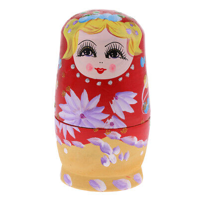 5Pcs Wooden Russian Nesting Dolls Babushka Matryoshka Doll Toy gifts Decor