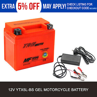 12V Motorcycle Motorbike Battery YTX5L-BS YTX5LBS YTZ7S MBTZ7S  + 1Ah Charger