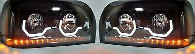 Pair Freightliner Century Blackout Headlights w/ LED Turn Signal & Light Bar