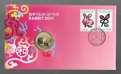 """2011 Christmas Island """" Year Of The Rabbit """" Pnc With The Special $1 Coin"""