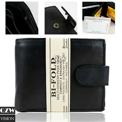 New Mens Genuine Leather Black Bifold Clipped Wallet ID Holder Credit Card Slim