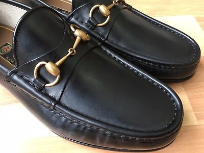 5b2558e707c GUCCI 1953 ROOS Black Leather Horsebit Loafer 307929