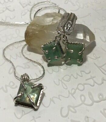 LULI HAMERSZTEIN Sq Roman Glass 925S Pendant Necklace, Rustic Drop Post Earrings