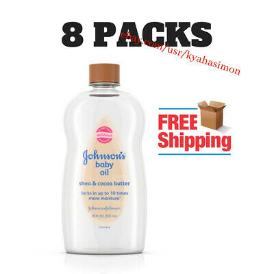 8-Pack Johnson's Baby Oil with Shea & Cocoa Butter, 20 fl. oz