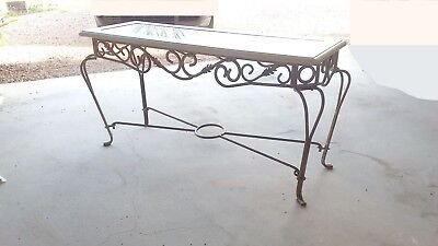 rustic wrought metal console entry hall table vintage