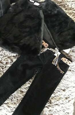 Girls size 2 New Jeans Black fine Cord & Fluffy Cape Kardashian New Super Outfit